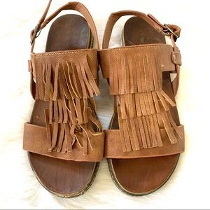 Corkys Leather Fringe Strappy Sandals